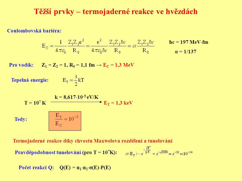 Těžší prvky – termojaderné reakce ve hvězdách
