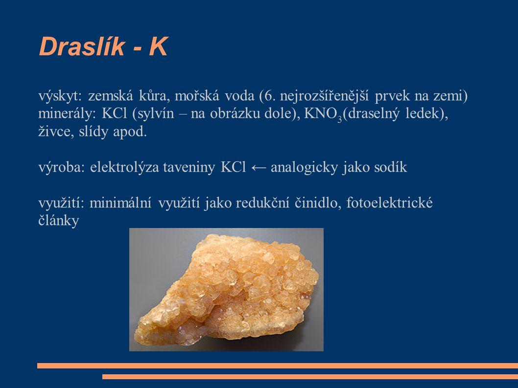 Draslík - K výskyt: zemská kůra, mořská voda (6. nejrozšířenější prvek na zemi)