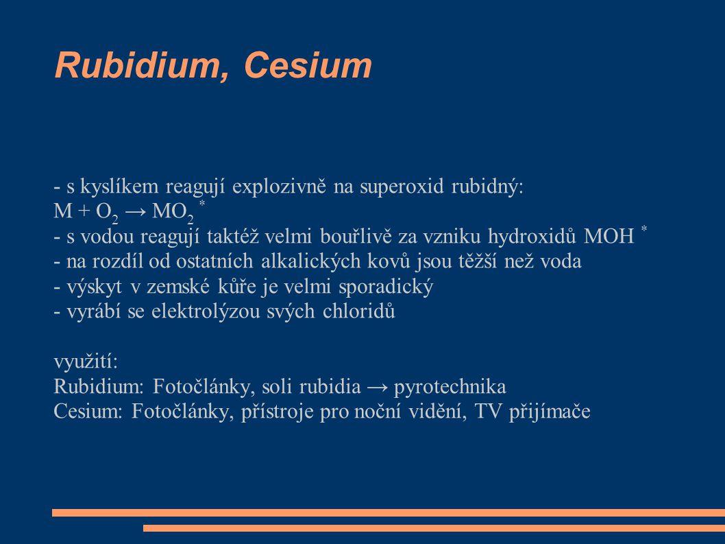 Rubidium, Cesium - s kyslíkem reagují explozivně na superoxid rubidný: