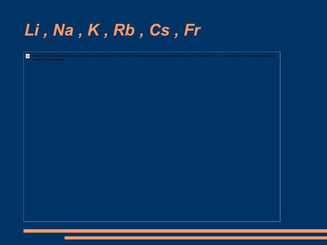 Li , Na , K , Rb , Cs , Fr