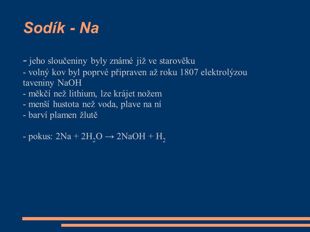 Sodík - Na - jeho sloučeniny byly známé již ve starověku