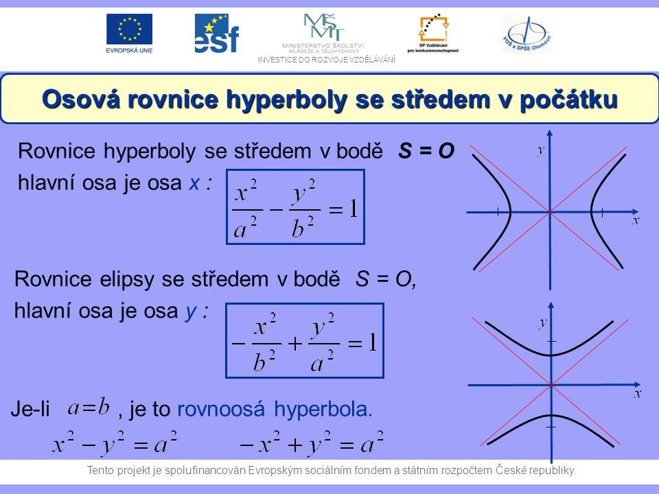 Osová rovnice hyperboly se středem v počátku