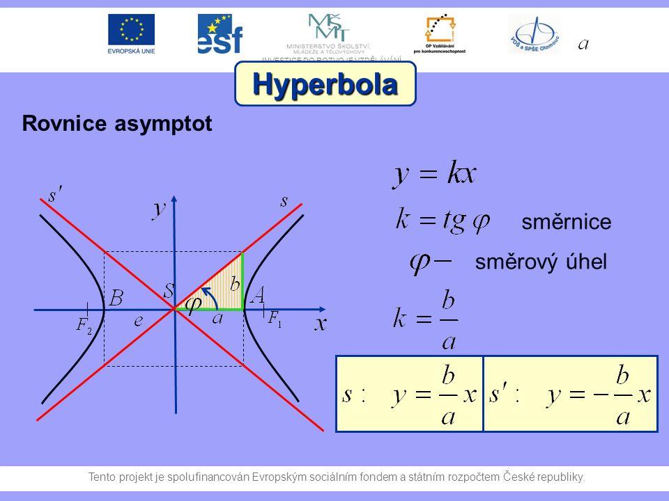 Hyperbola Rovnice asymptot směrnice směrový úhel