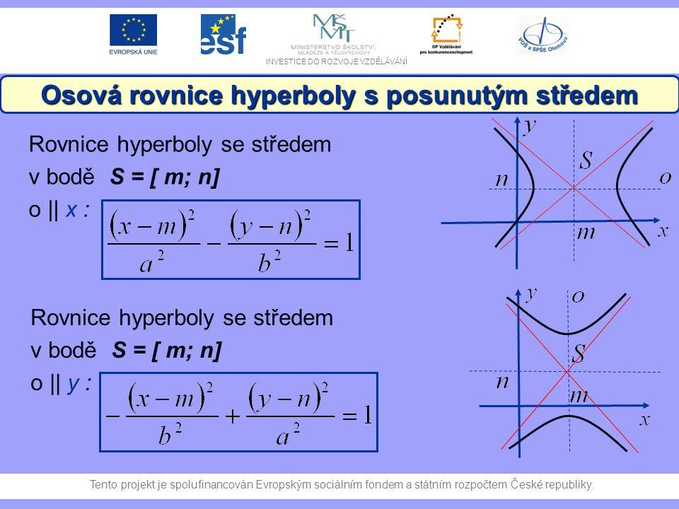 Osová rovnice hyperboly s posunutým středem