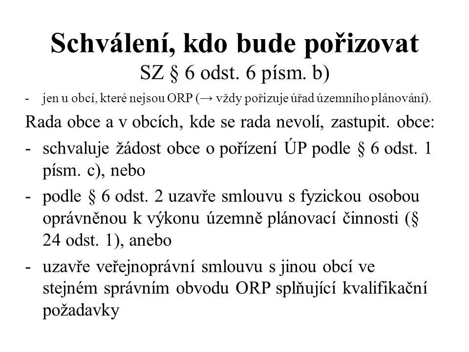 Schválení, kdo bude pořizovat SZ § 6 odst. 6 písm. b)