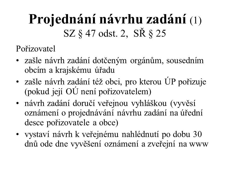 Projednání návrhu zadání (1) SZ § 47 odst. 2, SŘ § 25