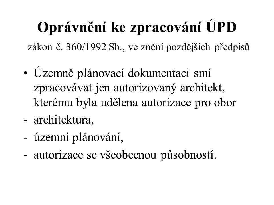 Oprávnění ke zpracování ÚPD zákon č. 360/1992 Sb