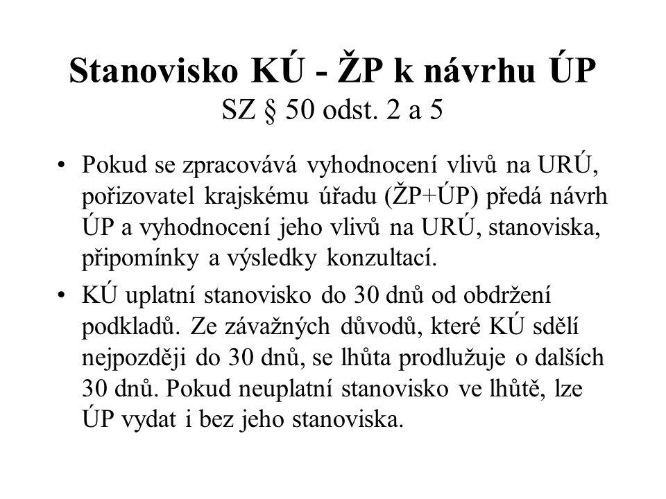 Stanovisko KÚ - ŽP k návrhu ÚP SZ § 50 odst. 2 a 5