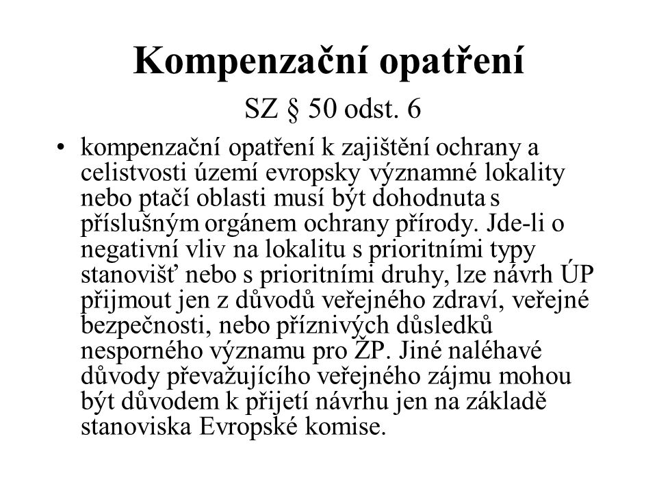 Kompenzační opatření SZ § 50 odst. 6
