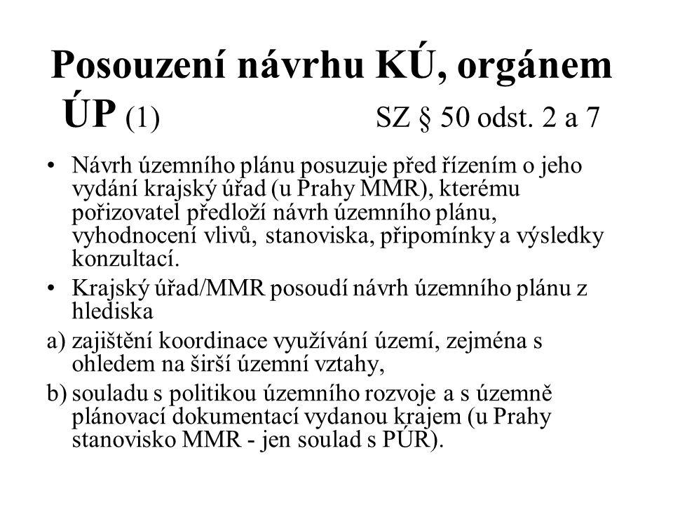 Posouzení návrhu KÚ, orgánem ÚP (1) SZ § 50 odst. 2 a 7