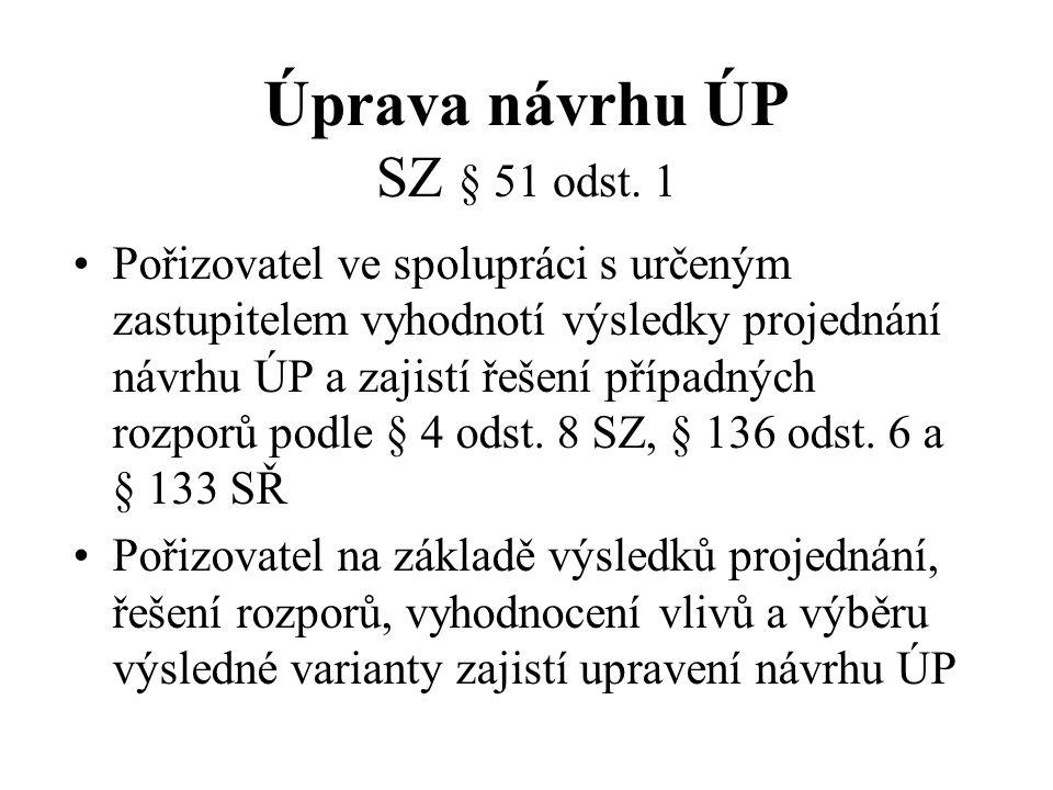 Úprava návrhu ÚP SZ § 51 odst. 1