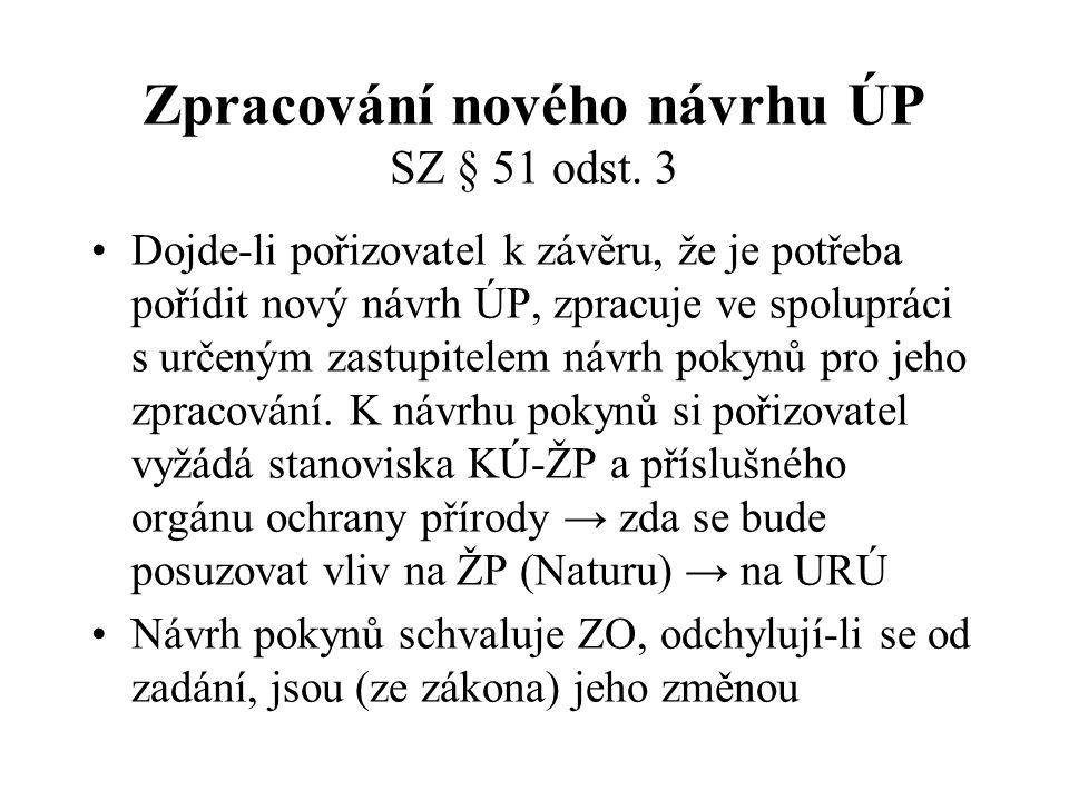 Zpracování nového návrhu ÚP SZ § 51 odst. 3