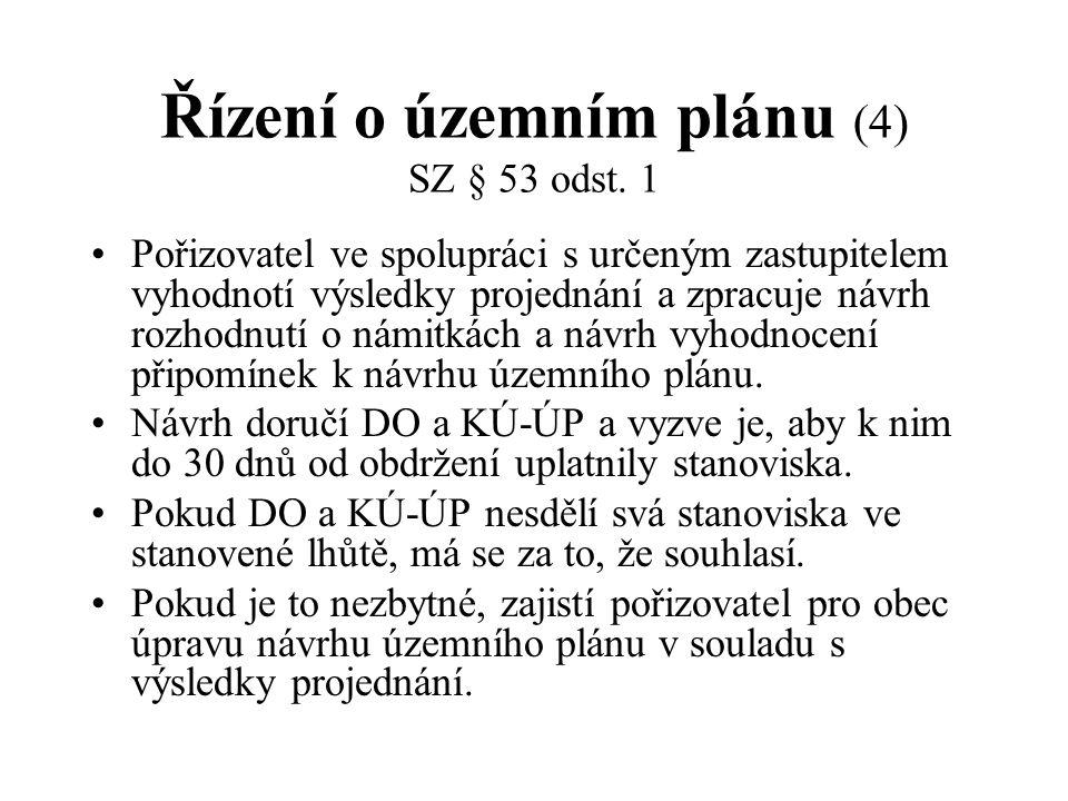 Řízení o územním plánu (4) SZ § 53 odst. 1