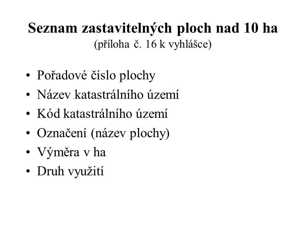 Seznam zastavitelných ploch nad 10 ha (příloha č. 16 k vyhlášce)