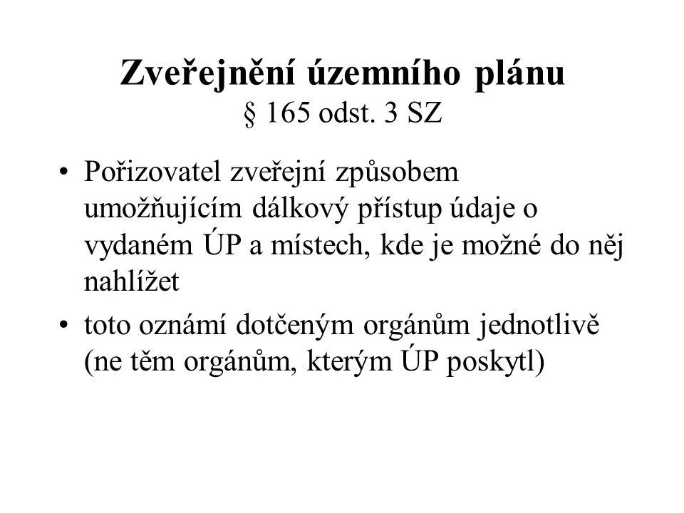 Zveřejnění územního plánu § 165 odst. 3 SZ
