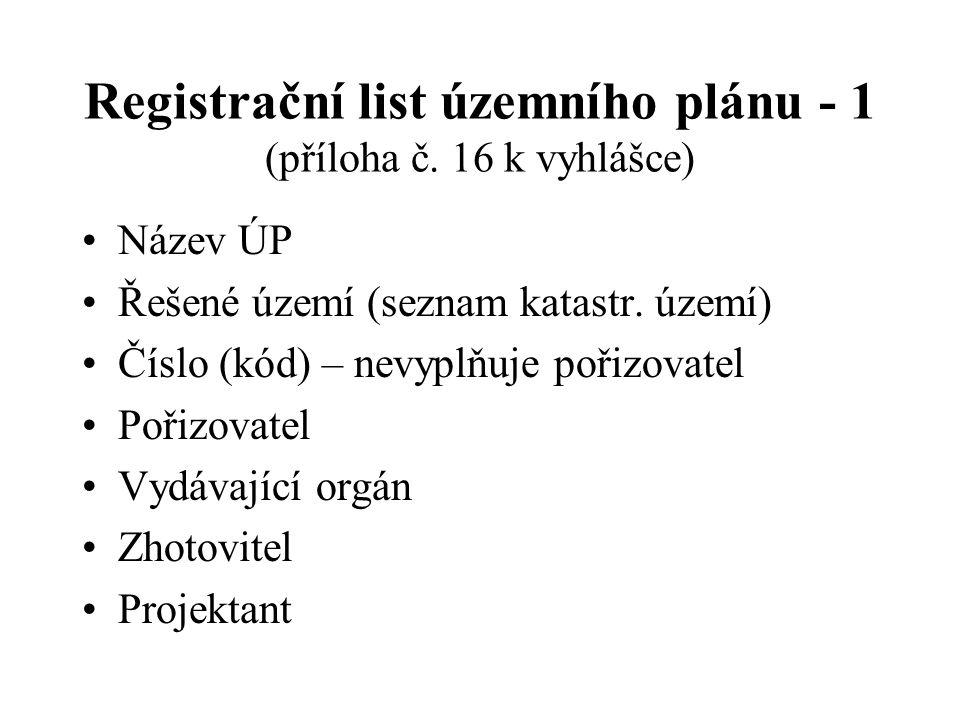 Registrační list územního plánu - 1 (příloha č. 16 k vyhlášce)