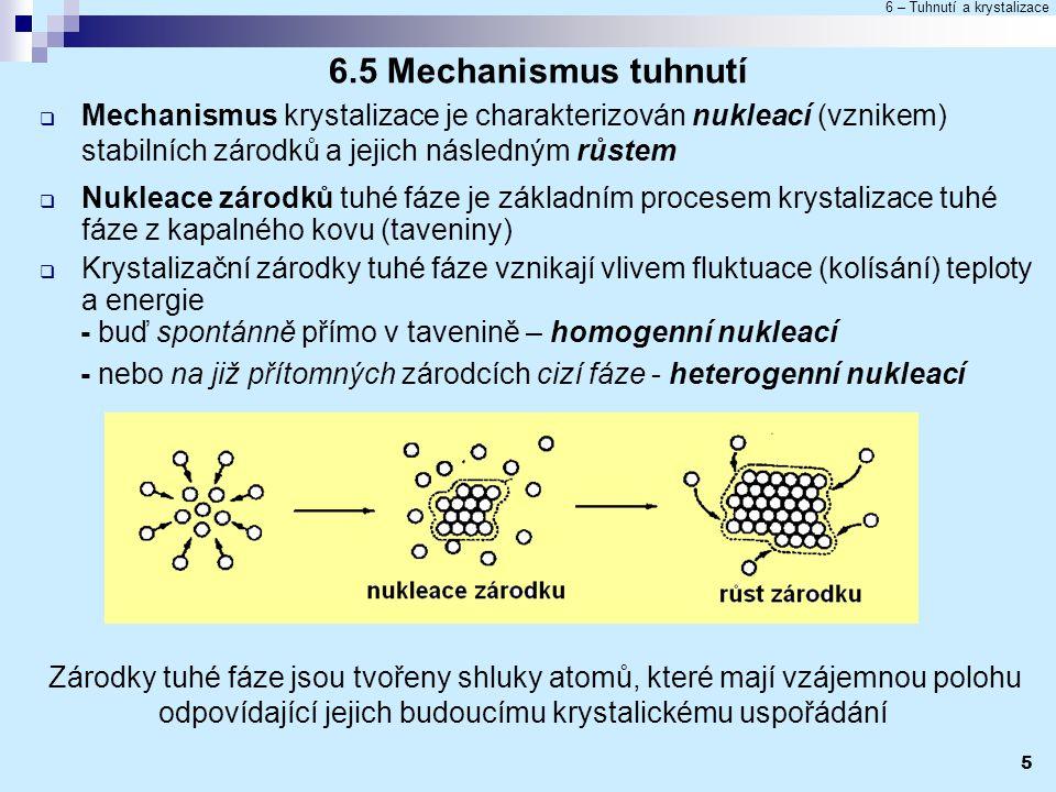 6.5 Mechanismus tuhnutí Mechanismus krystalizace je charakterizován nukleací (vznikem) stabilních zárodků a jejich následným růstem.