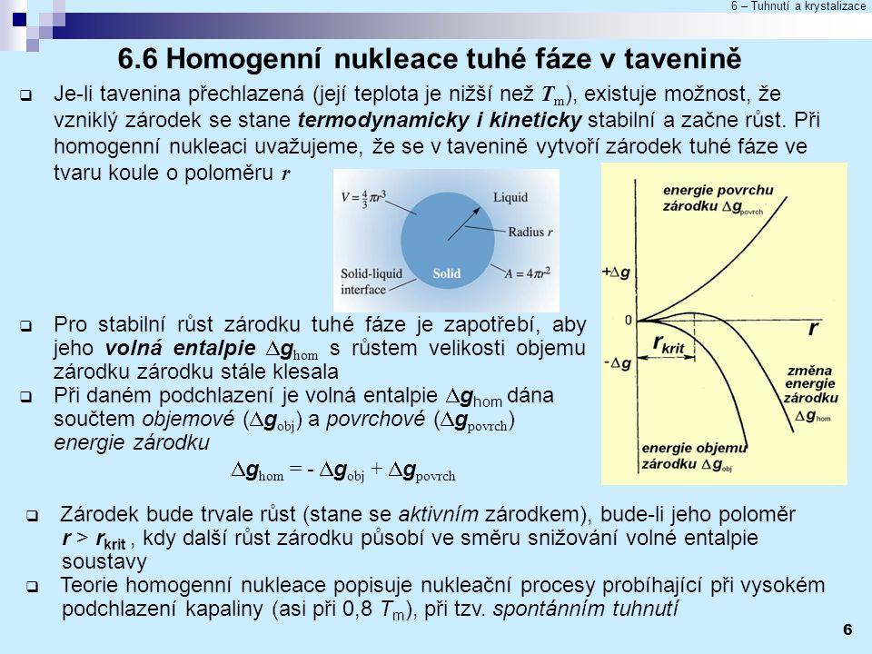 6.6 Homogenní nukleace tuhé fáze v tavenině