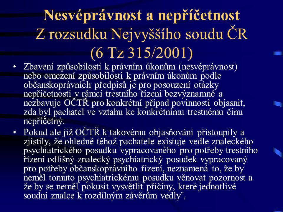 Nesvéprávnost a nepříčetnost Z rozsudku Nejvyššího soudu ČR (6 Tz 315/2001)