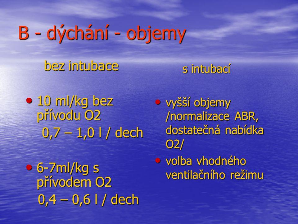 B - dýchání - objemy 10 ml/kg bez přívodu O2 0,7 – 1,0 l / dech