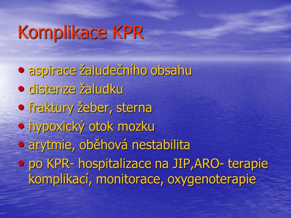 Komplikace KPR aspirace žaludečního obsahu distenze žaludku