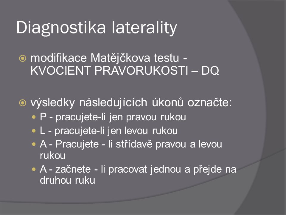 Diagnostika laterality