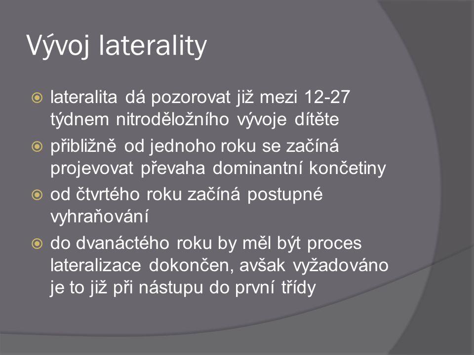 Vývoj laterality lateralita dá pozorovat již mezi 12-27 týdnem nitroděložního vývoje dítěte.