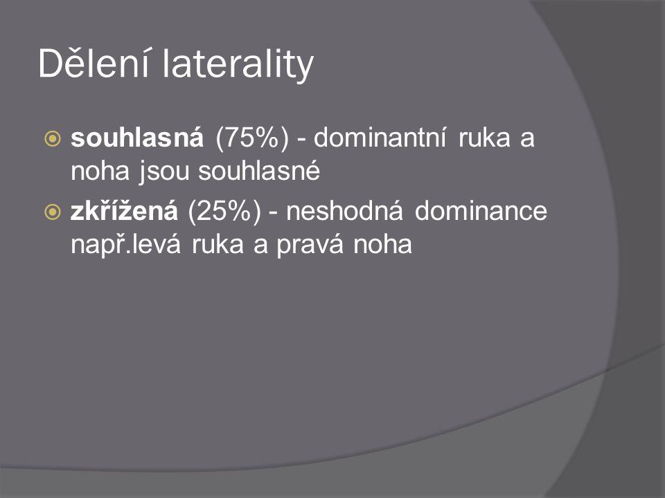 Dělení laterality souhlasná (75%) - dominantní ruka a noha jsou souhlasné.