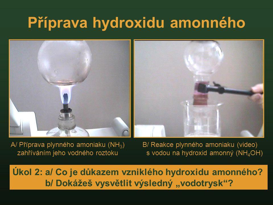Příprava hydroxidu amonného