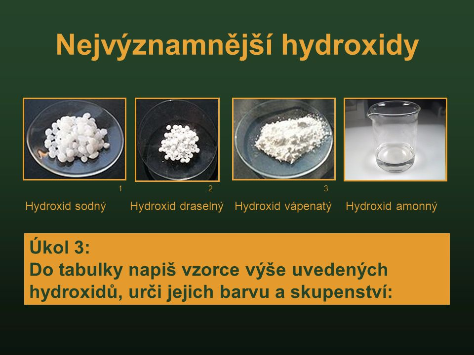 Nejvýznamnější hydroxidy
