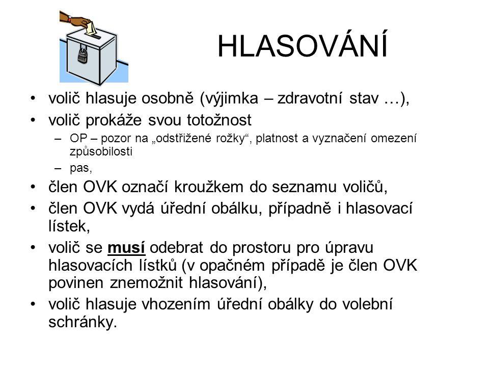 HLASOVÁNÍ volič hlasuje osobně (výjimka – zdravotní stav …),