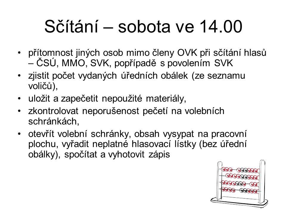 Sčítání – sobota ve 14.00 přítomnost jiných osob mimo členy OVK při sčítání hlasů – ČSÚ, MMO, SVK, popřípadě s povolením SVK.