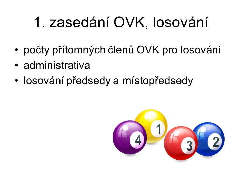 1. zasedání OVK, losování počty přítomných členů OVK pro losování
