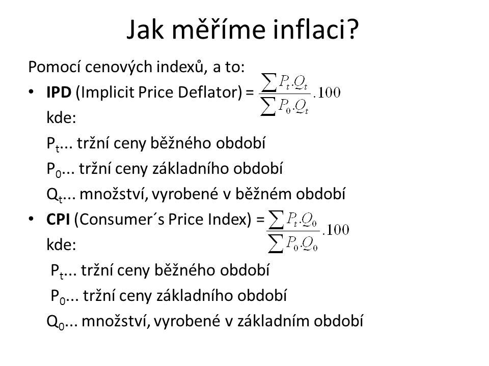 Jak měříme inflaci Pomocí cenových indexů, a to: