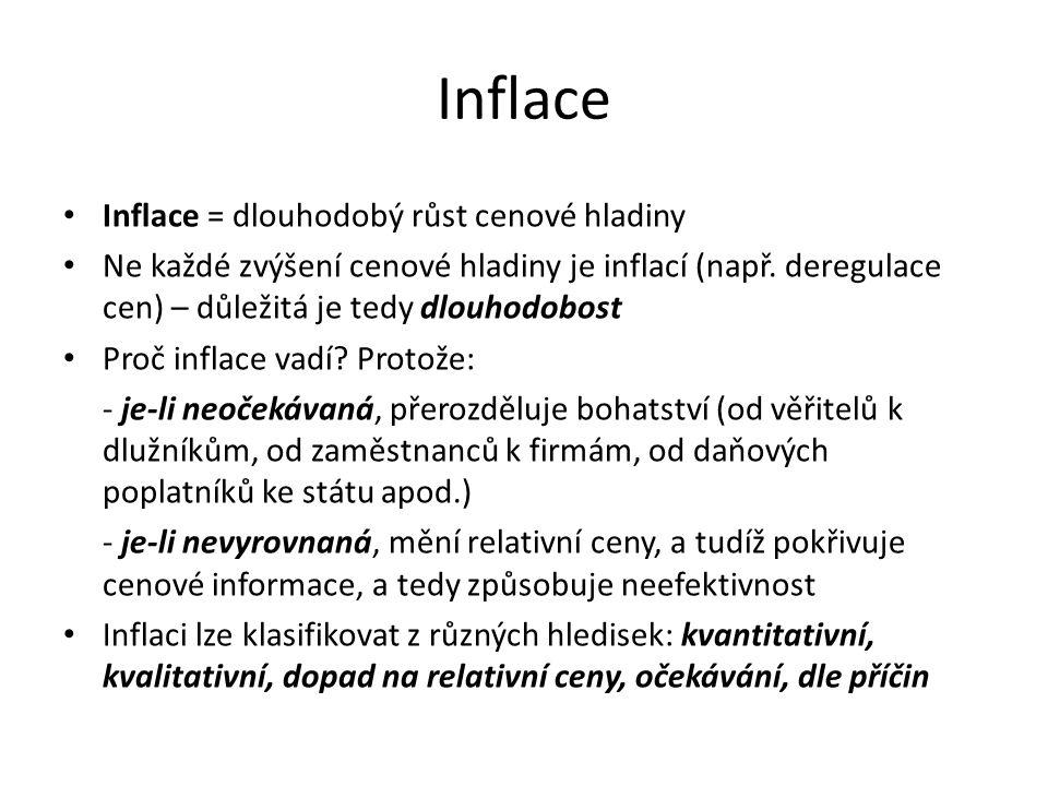 Inflace Inflace = dlouhodobý růst cenové hladiny