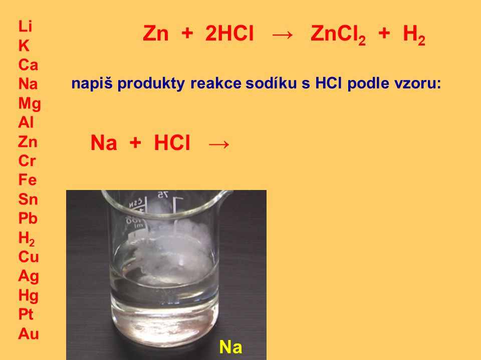 Zn + 2HCl → ZnCl2 + H2 Na + HCl → Na Li K Ca Na Mg Al Zn