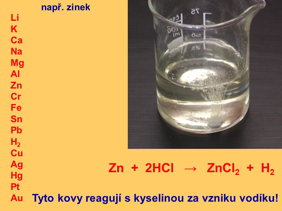 Zn + 2HCl → ZnCl2 + H2 Tyto kovy reagují s kyselinou za vzniku vodíku!