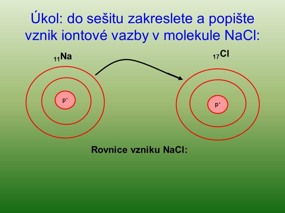 Úkol: do sešitu zakreslete a popište vznik iontové vazby v molekule NaCl: