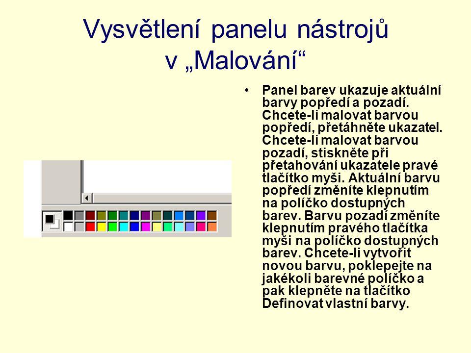 """Vysvětlení panelu nástrojů v """"Malování"""
