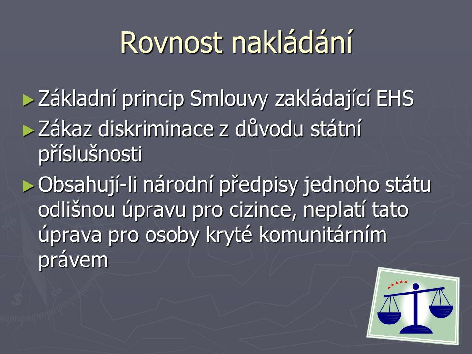 Rovnost nakládání Základní princip Smlouvy zakládající EHS