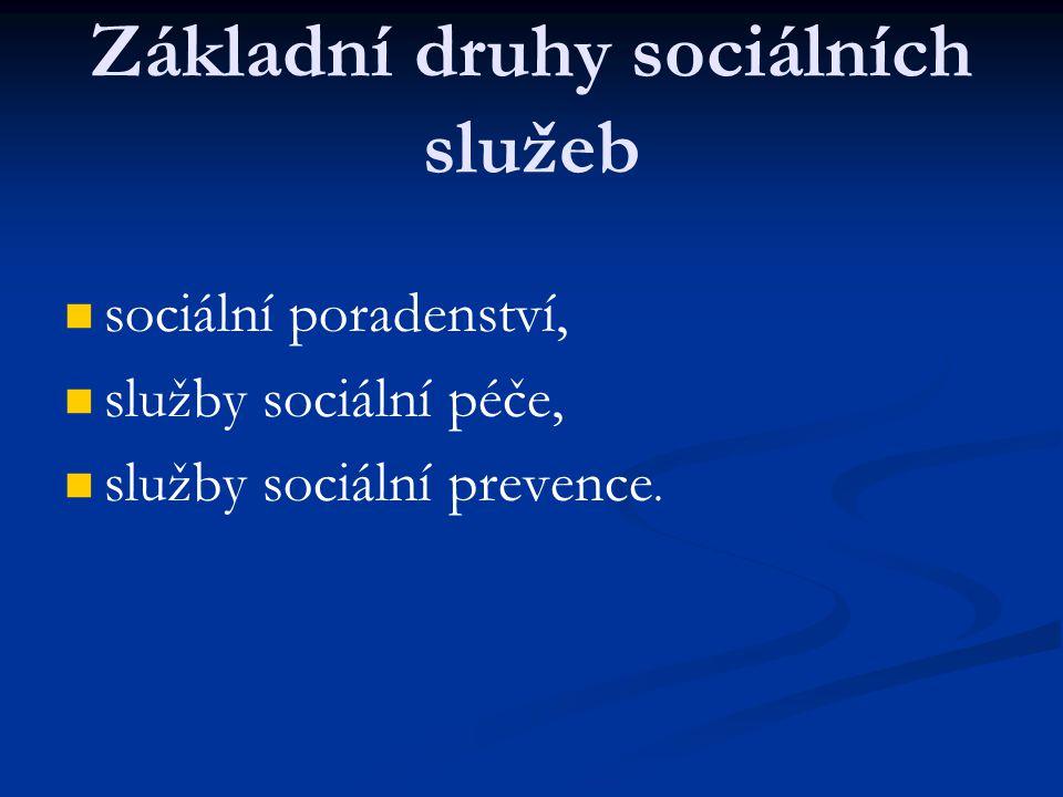 Základní druhy sociálních služeb