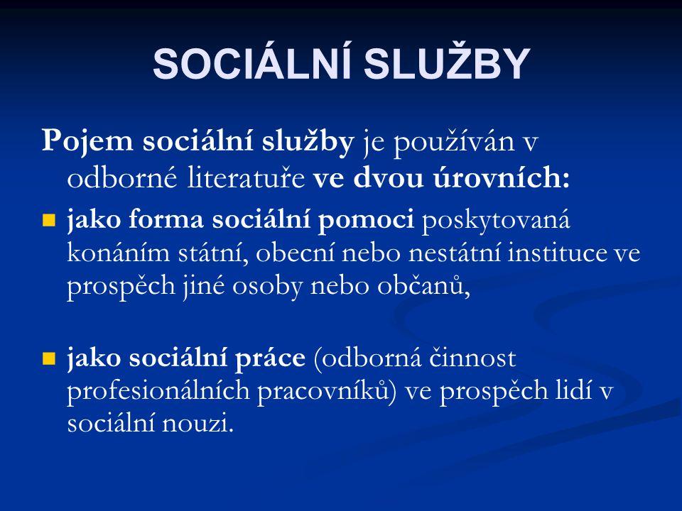 SOCIÁLNÍ SLUŽBY Pojem sociální služby je používán v odborné literatuře ve dvou úrovních: