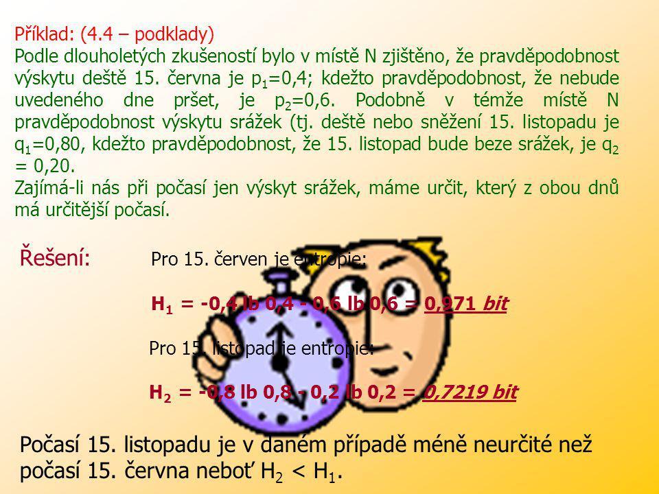 Řešení: Pro 15. červen je entropie: