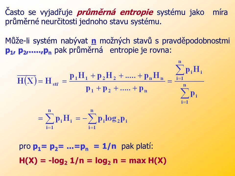 Často se vyjadřuje průměrná entropie systému jako míra průměrné neurčitosti jednoho stavu systému.