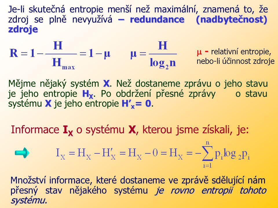 Informace IX o systému X, kterou jsme získali, je: