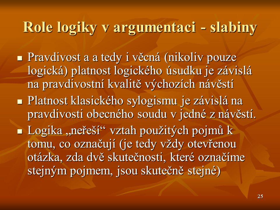 Role logiky v argumentaci - slabiny