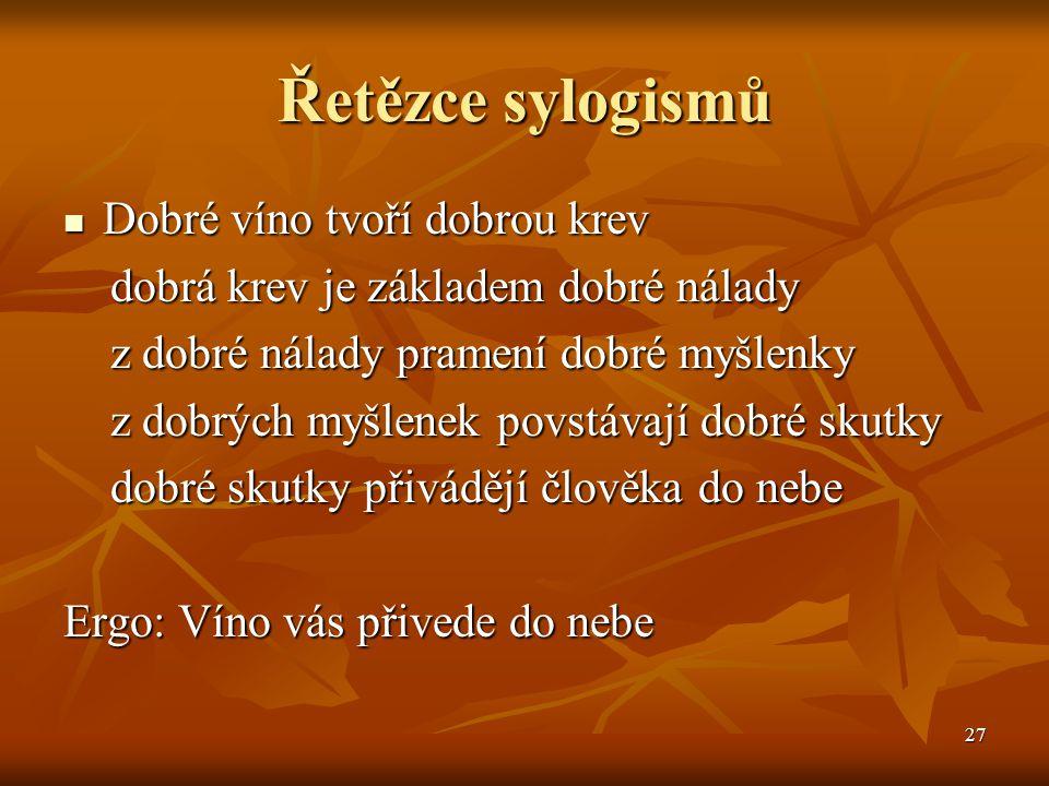 Řetězce sylogismů Dobré víno tvoří dobrou krev