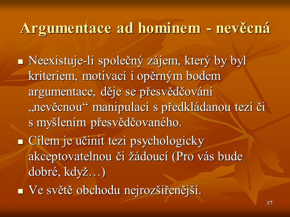 Argumentace ad hominem - nevěcná