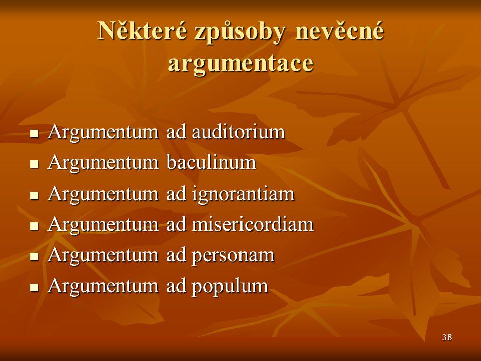 Některé způsoby nevěcné argumentace