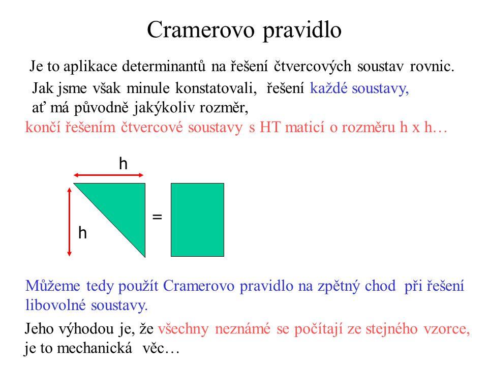 Cramerovo pravidlo Je to aplikace determinantů na řešení čtvercových soustav rovnic. Jak jsme však minule konstatovali, řešení každé soustavy,